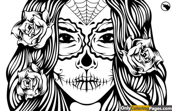 Sugar Skull Girl Coloring Pages Print Skull Coloring Pages