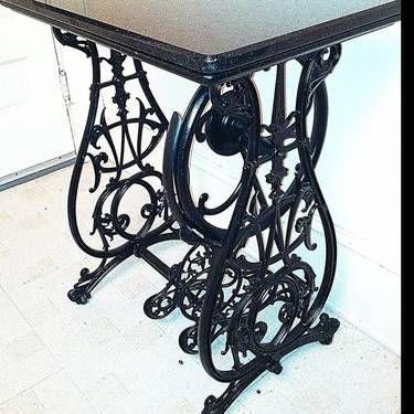 Wrought Iron Sewing Machine Base With Marble Top Antique