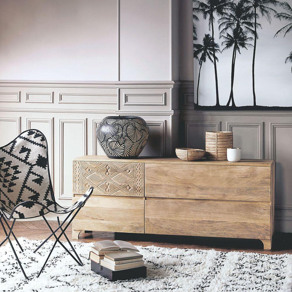 Kelim Sessel Mit Schwarzen Und Weissen Motiven Maisons Du Monde Buffet Maison Decoration Maison Du Monde Deco