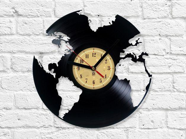 Vinyl Record Clock World Globe | Pinterest | Wanduhren, Vinyl und ...