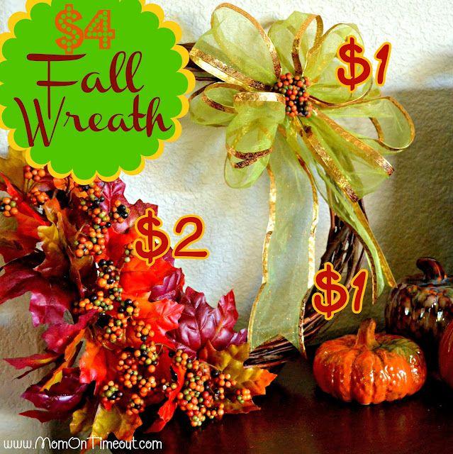 Mom On Timeout: $4 Fall Wreath {Dollar Tree Craft} #Fall
