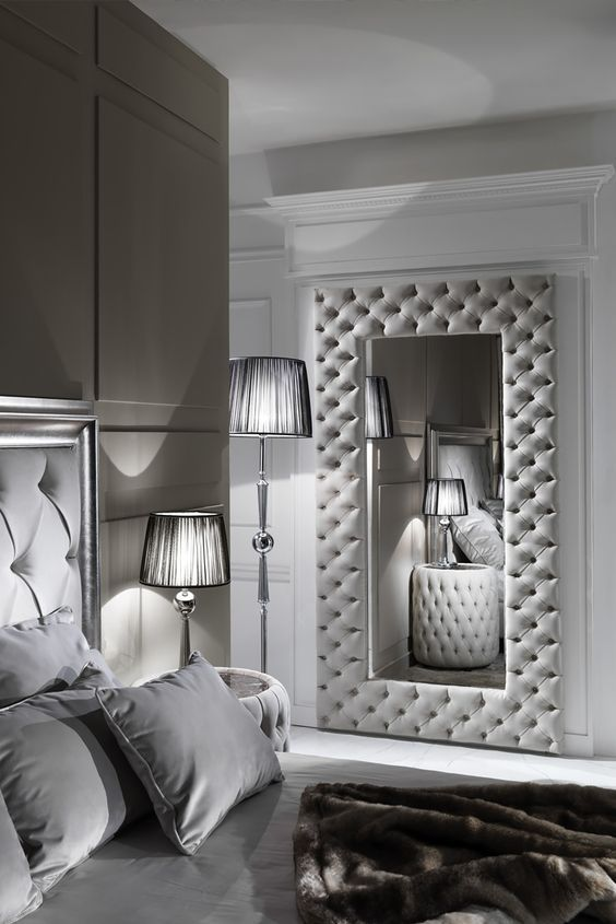 Large Modern Button Upholstered Nubuck Leather Wall Mirror in 2018 ...