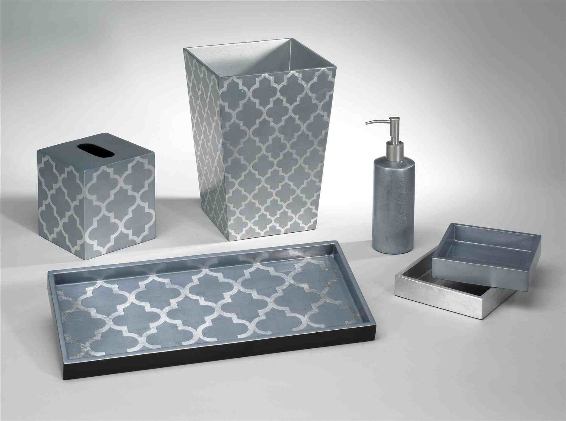 New Post grey and blue bathroom accessories