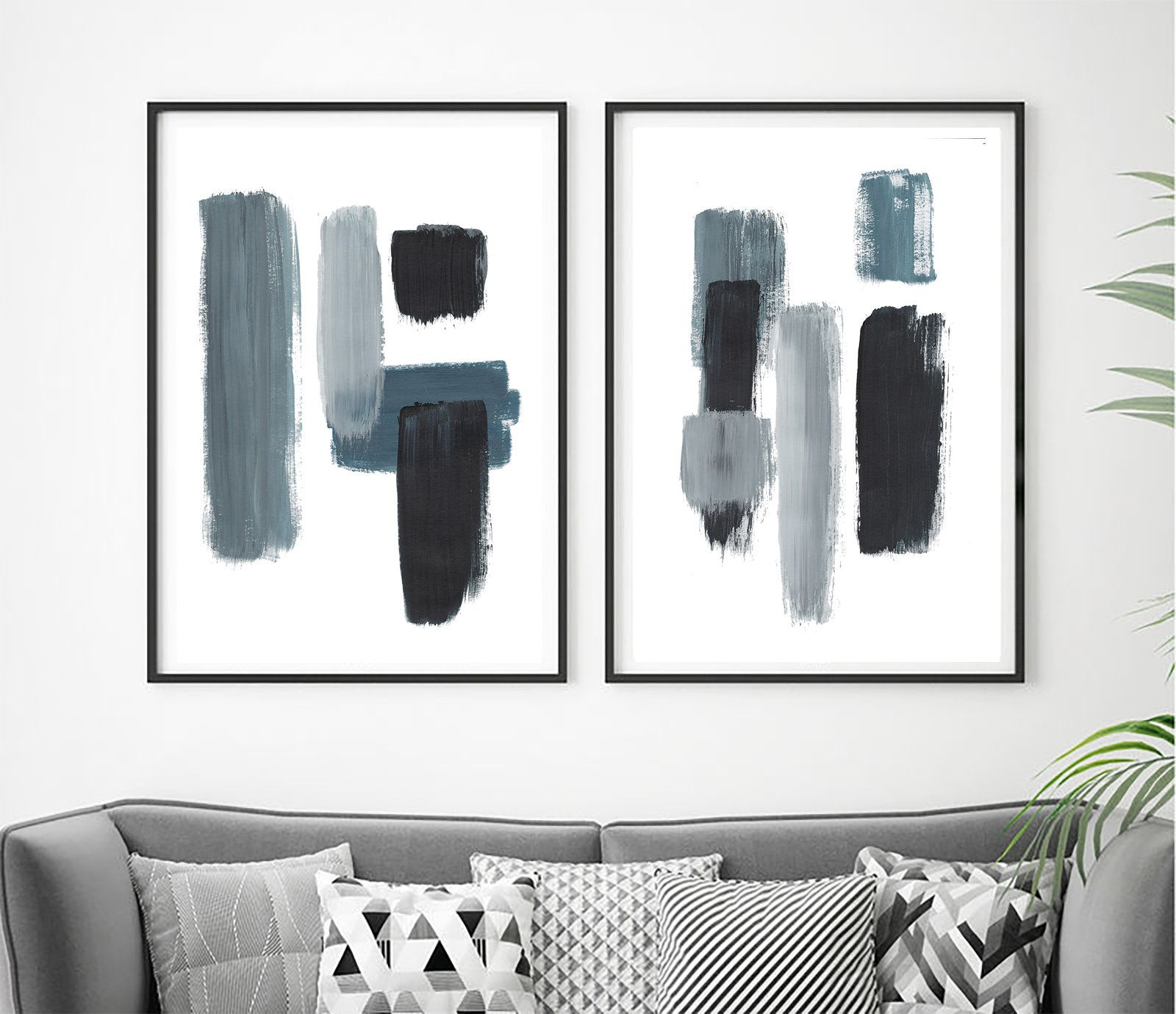 Set Of 2 Minimalist Prints Set Of 2 Prints Set Of 2 Wall Etsy In 2021 Minimalist Prints Blue Abstract Art Abstract Prints