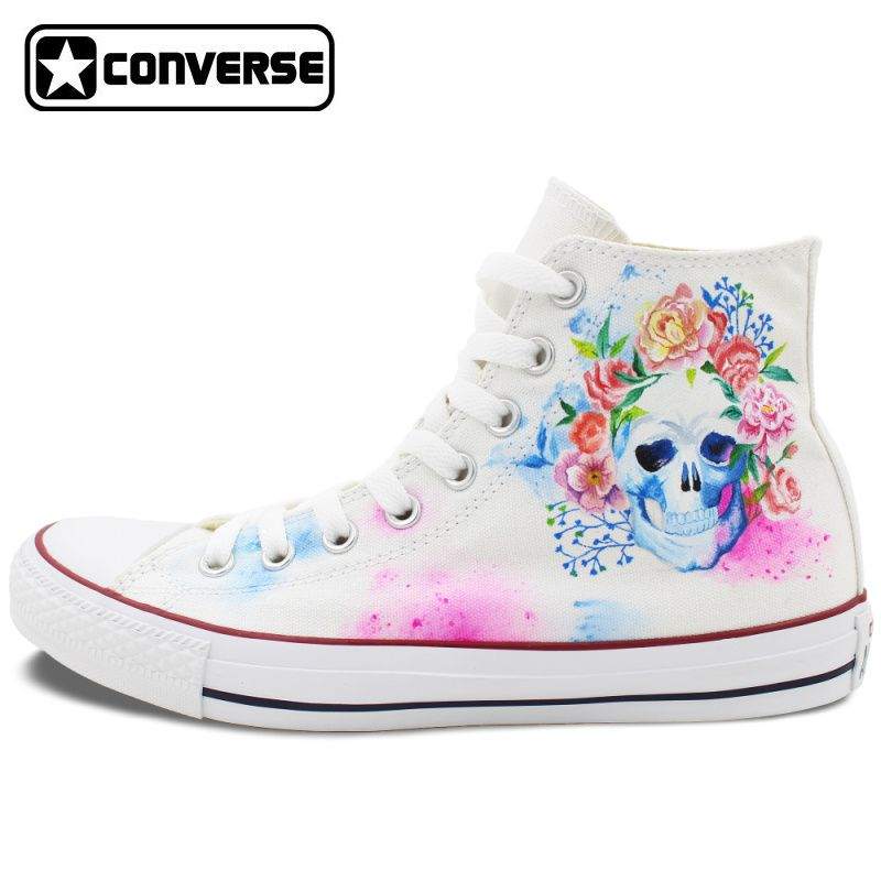 d2a3c66db805 Hand Painted Converse Shoes for Women Men Custom Design Skull Colorful  Flowers White Sneakers Flats High Top Gifts Presents