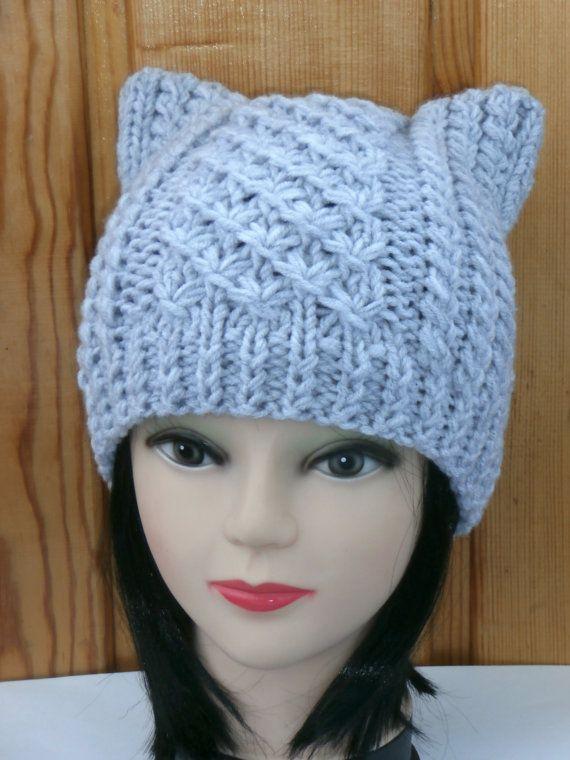 Katzen Ohren Mütze stricken Wolle/Acryl Knit Katze von NataKnitwork ...