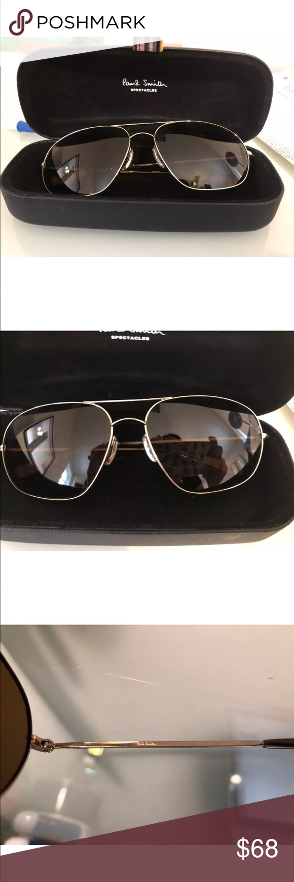 02ce20db0b Paul Smith Sunglasses Aviator Style Never Worn Awesome Paul Smith gold  frame sunglasses Comes with case