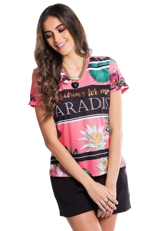 4e30cd9a1f5 Blusa Feminina Manga Curta Estampa Floral E Lettering - Rosa - Cativa Store