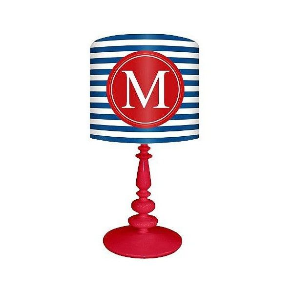 "Oopsy Daisy Blue And Red ""M"" Striped Monogram Kids Table Lamp (£115) ❤ liked on Polyvore featuring home, children's room, children's decor, red and table lamps"