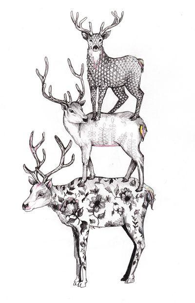 A pile of stags Art Print Cerf, Décoration chambre enfant et Dessin