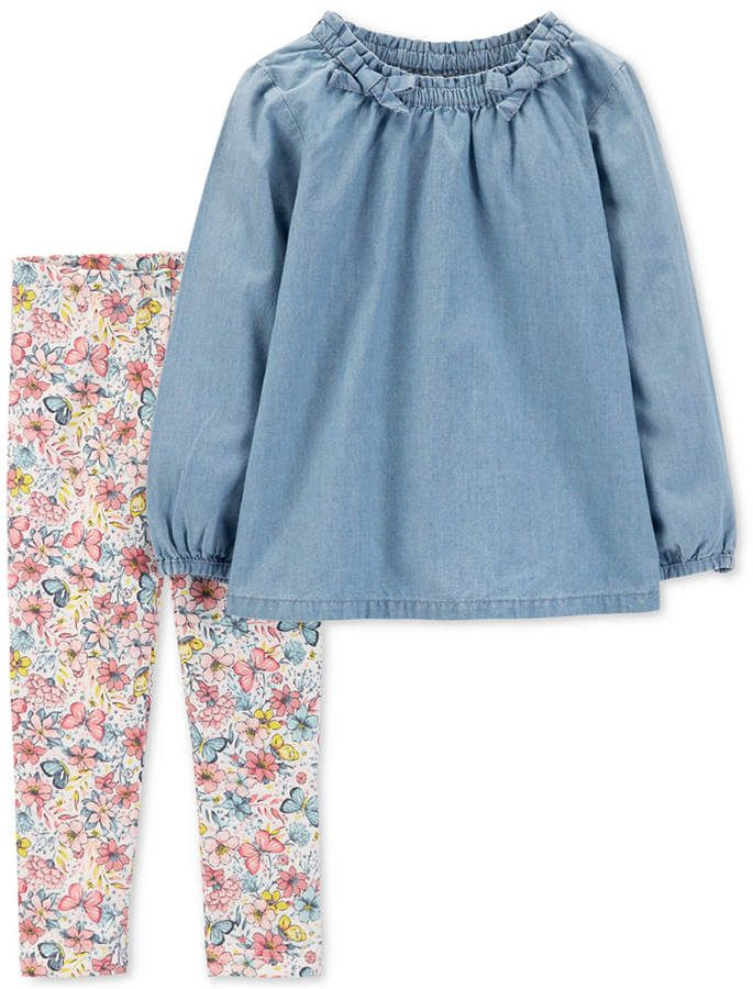 73a2da3f99f Carter's Toddler Girls 2-Pc. Chambray Tunic & Printed Leggings Set ...