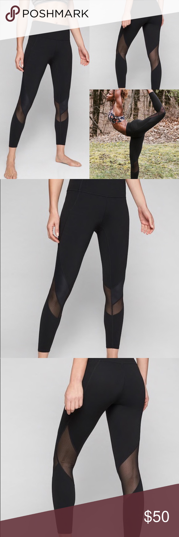 00594e9564bde Athleta Mesh Shine Salutation 7/8 Tight Fitted, High rise Fits next to the