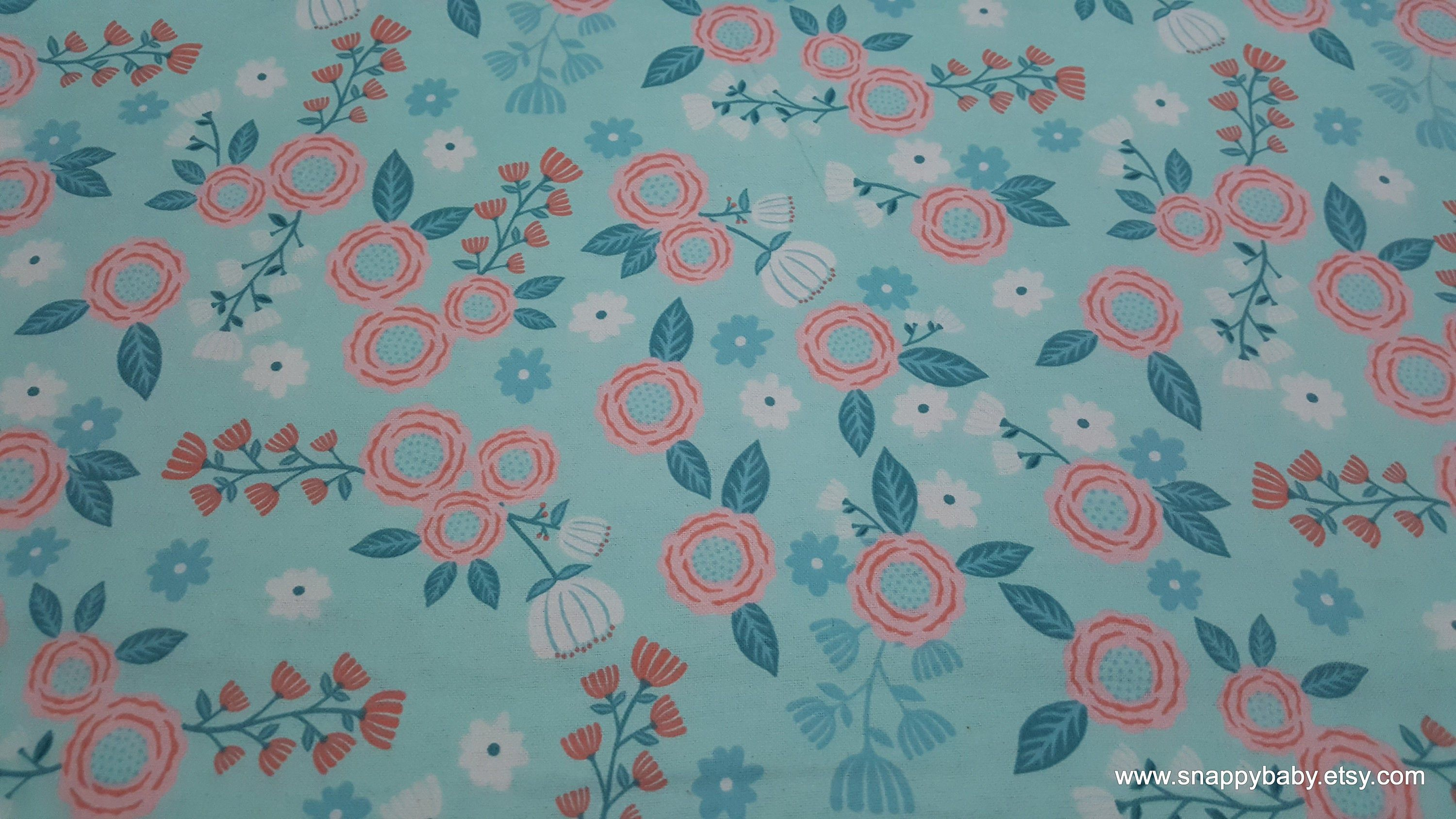 Flannel Fabric Hanna Mint Pink Floral By The Yard 100 Cotton Flannel Flannel Fabric Cotton Flannel Fabric