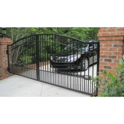 Mighty Mule Biscayne 12 Ft X 5 Ft 6 In Powder Coated Steel Dual Driveway Fence Gate G2712 Kit The Home D Driveway Fence Driveway Gate Fence Gate