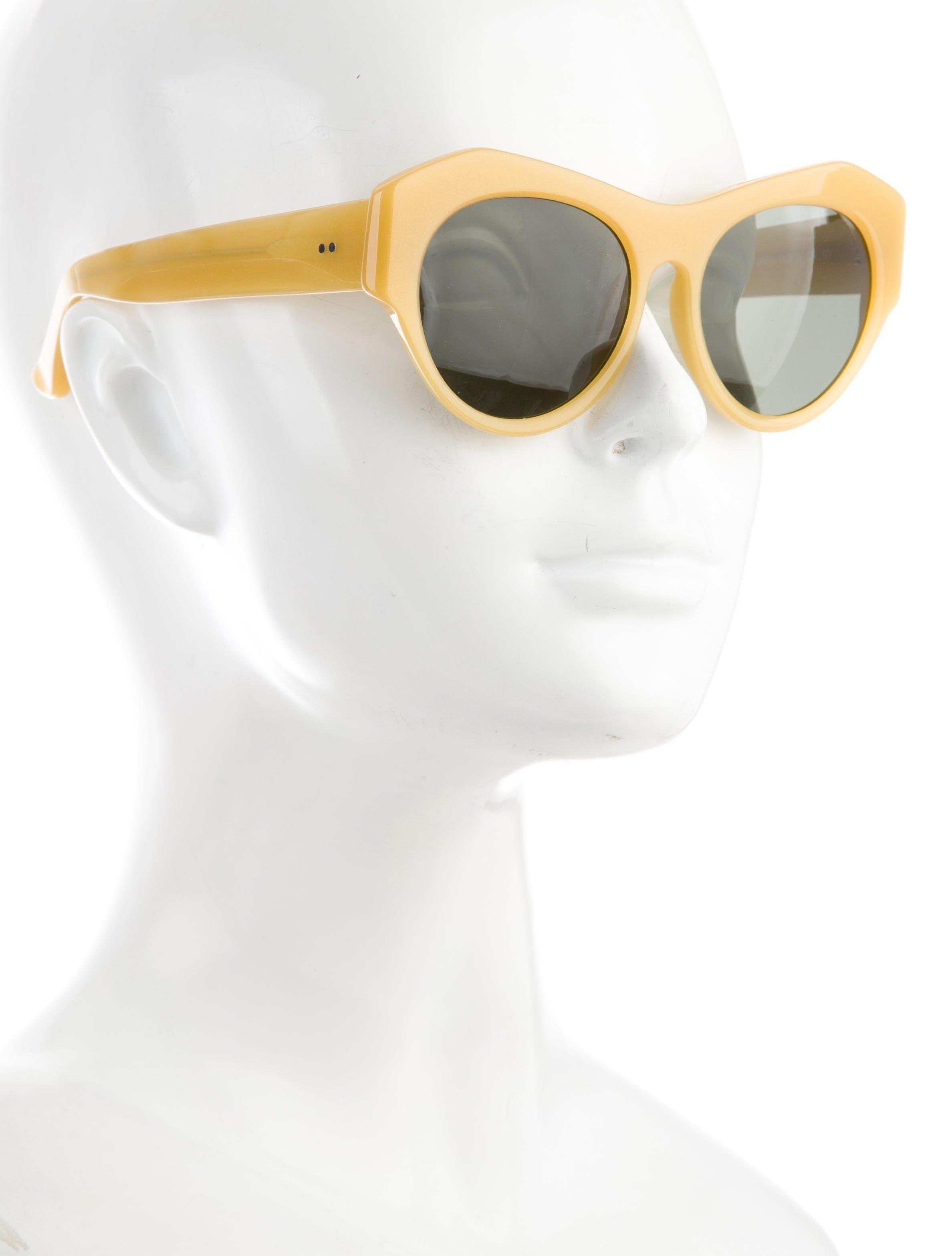 5e853c33f4aa Yellow acetate Linda Farrow for Dries Van Noten round sunglasses with  tinted lenses.
