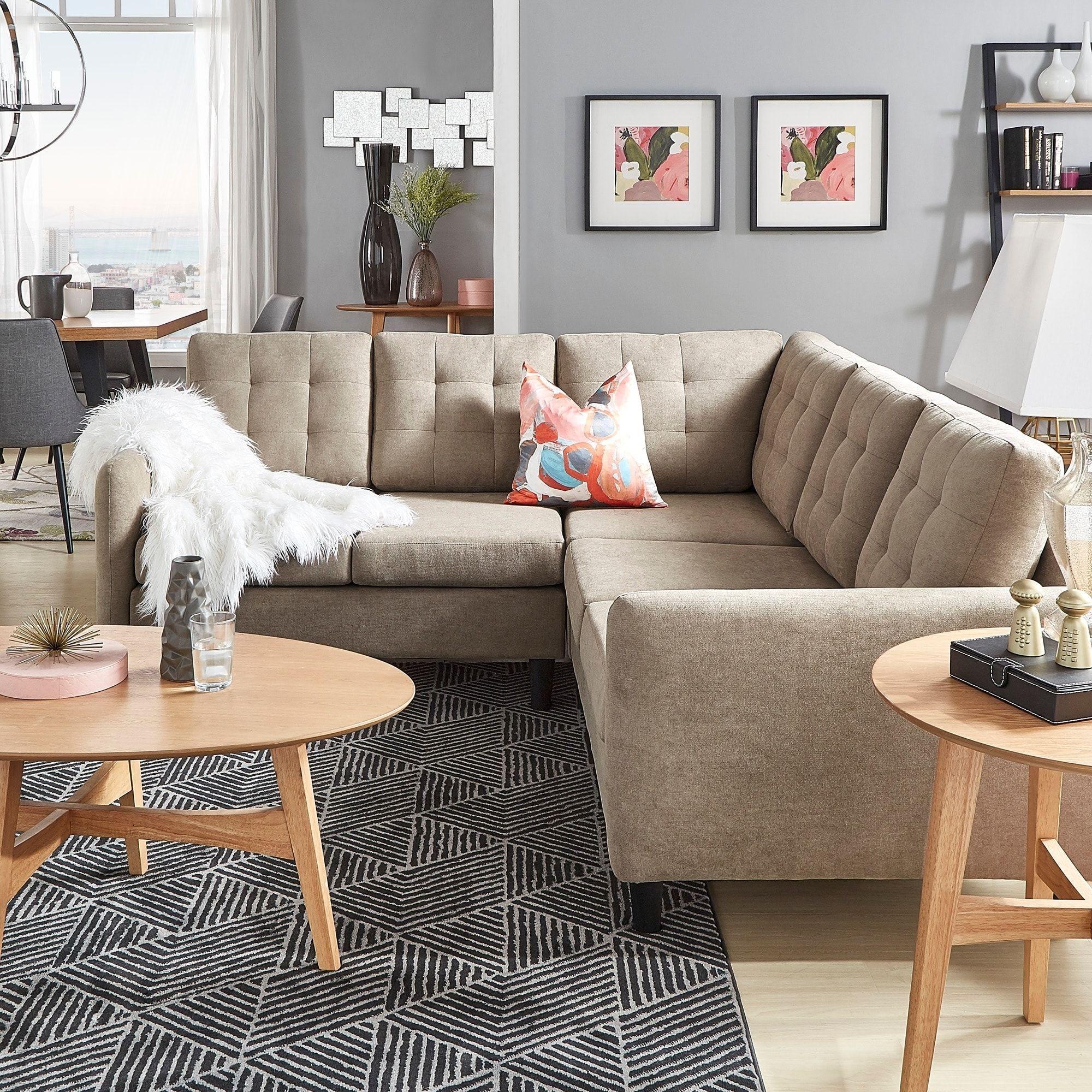 Remarkable Rivers Khaki Velvet Sectional By Inspire Q Modern Beige Creativecarmelina Interior Chair Design Creativecarmelinacom
