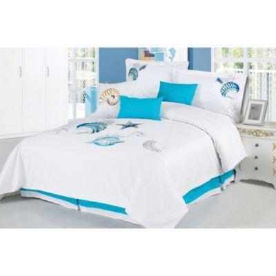 7 Piece Coastal Aqua//White Comforter Set