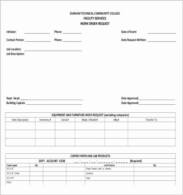 Work Order Request Fresh 10 Job Order Forms Doctors Note Template Order Form Template Templates
