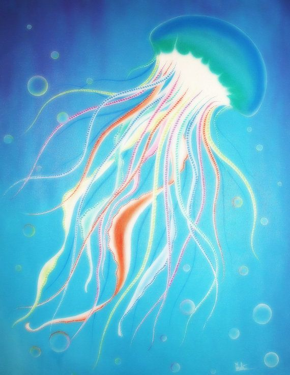 Acrylic painting on canvas jelly fish underwater world by for Jelly fish painting