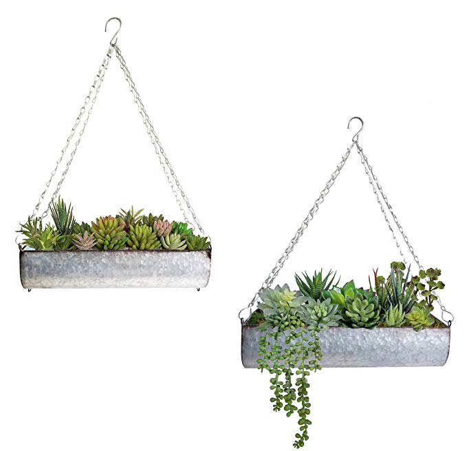 Amazon Com Shabbydecor Galvanized Metal Hanging Trough Flower Planter Wall Storage Set Of 2 Gateway Wall Planters Outdoor Metal Wall Planters Flower Planters