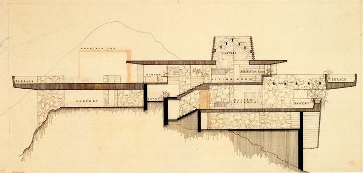 Arch Oboler House :  Eagle Feather estate, Los Angeles CA (1940s) | Frank Lloyd Wright