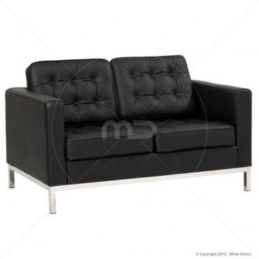 $679 Knoll Replica 2 Seater Sofa - Black - Buy Scandinavian Furniture & Knoll Furniture - Milan Direct