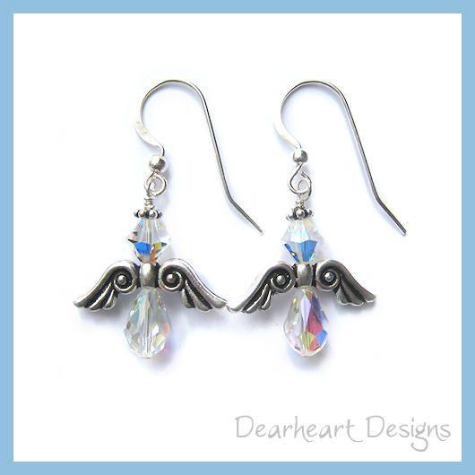 Swarovski Crystal Angel Earrings by DearheartJewelry on Etsy, $12.50