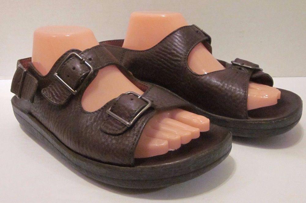 8412f363a570 Walk The Walk Brown Leather Buckle Back Strap Sandals Shoes Ana Teck Size  42  WalkTheWalk  AnkleStrap  Casual