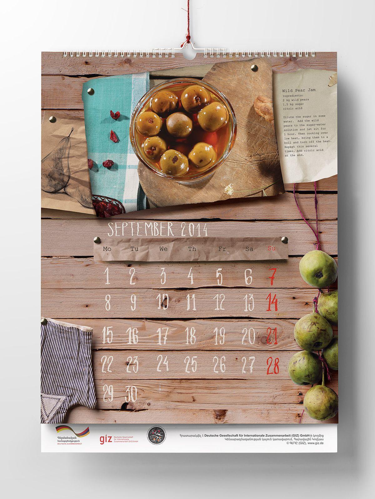GIZ Calendar September Calendar book, Book design