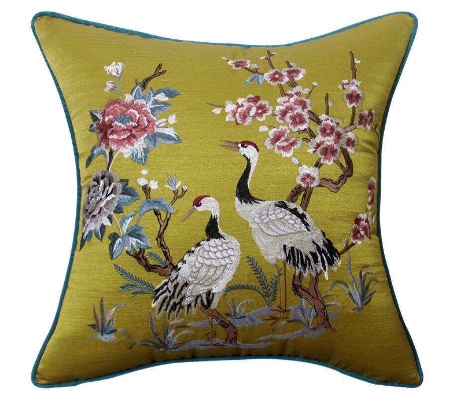 Throw Pillows Birds Luxury pillow Pillow Cover,Decorative Pillows Bird Pillow Pillow Embroidered silk pillows Cushion Cover