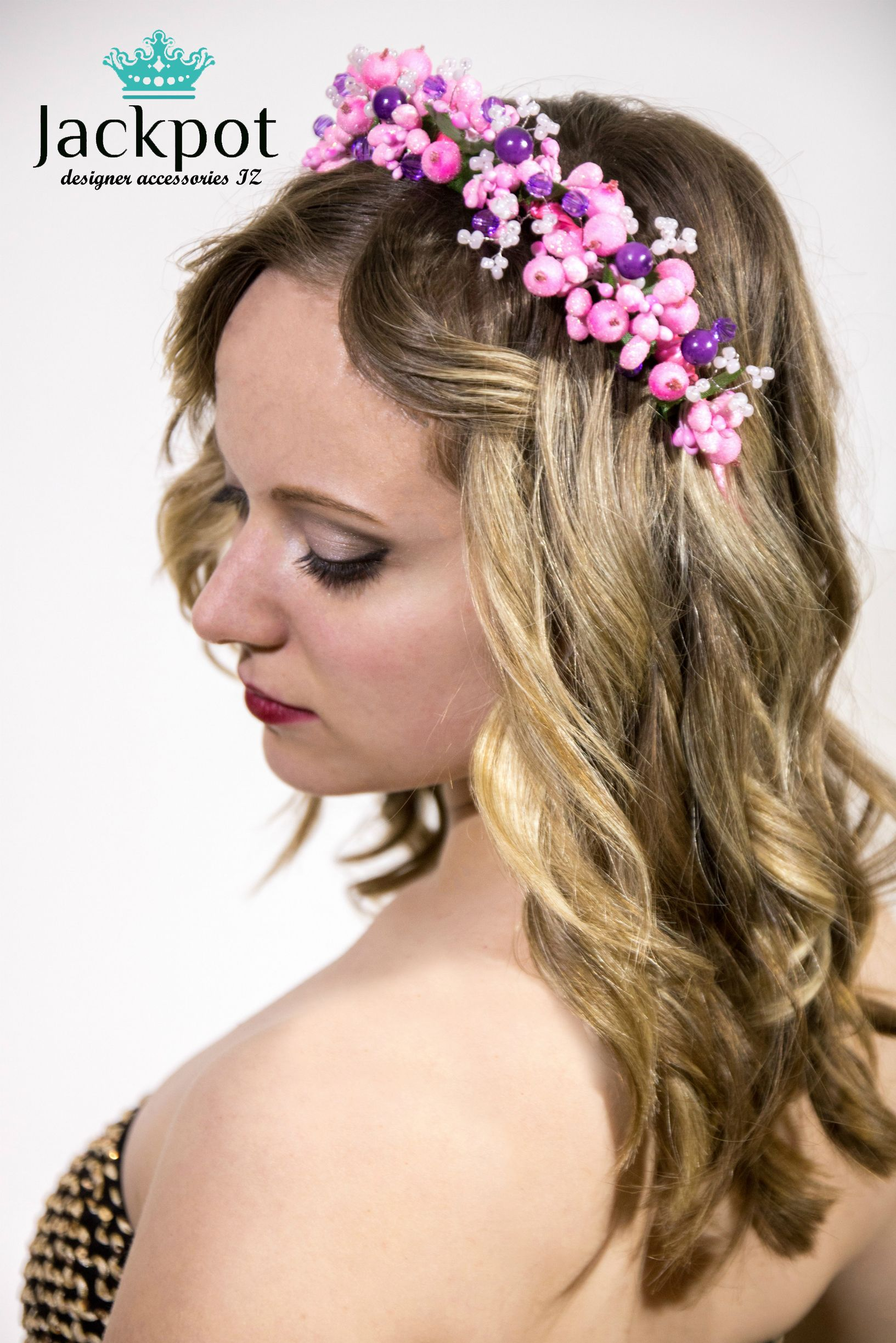 Pink Purple Berry Hair Crown Bridal Headband Hairpiece Tiara