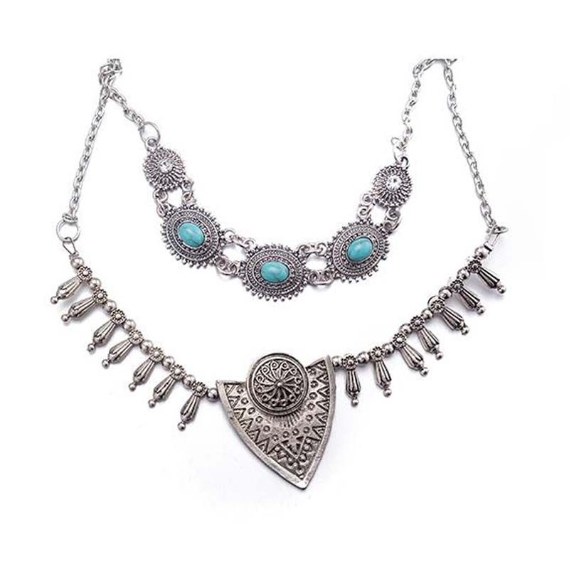 Europe Fashion  Style Water Drop Necklace Exaggerated Necklace Dual-layer Necklace for Women Jewelry Accessories SL