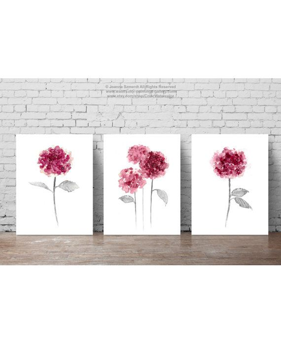 hydrangea flowers set 3 plum pink botanical wall decor abstract