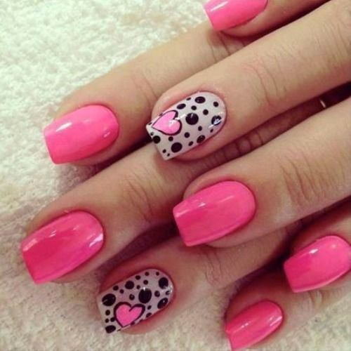 Heart-nail-designs-with-black-and-white-patterns- - Heart-nail-designs-with-black-and-white-patterns-and-pink