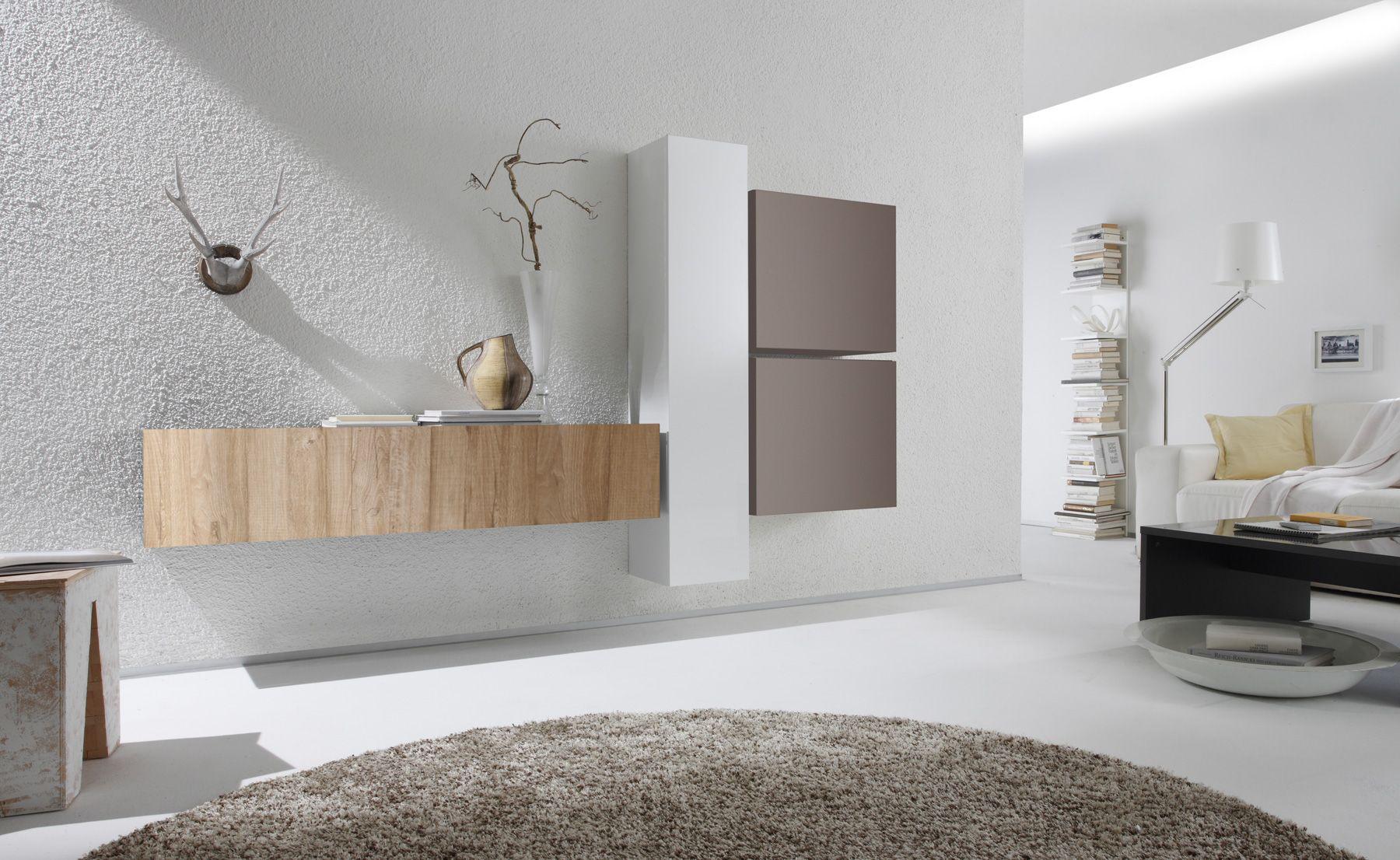 Wohnwand Weiß Lack Beige Eiche Natur Cubilo29 Designermöbel