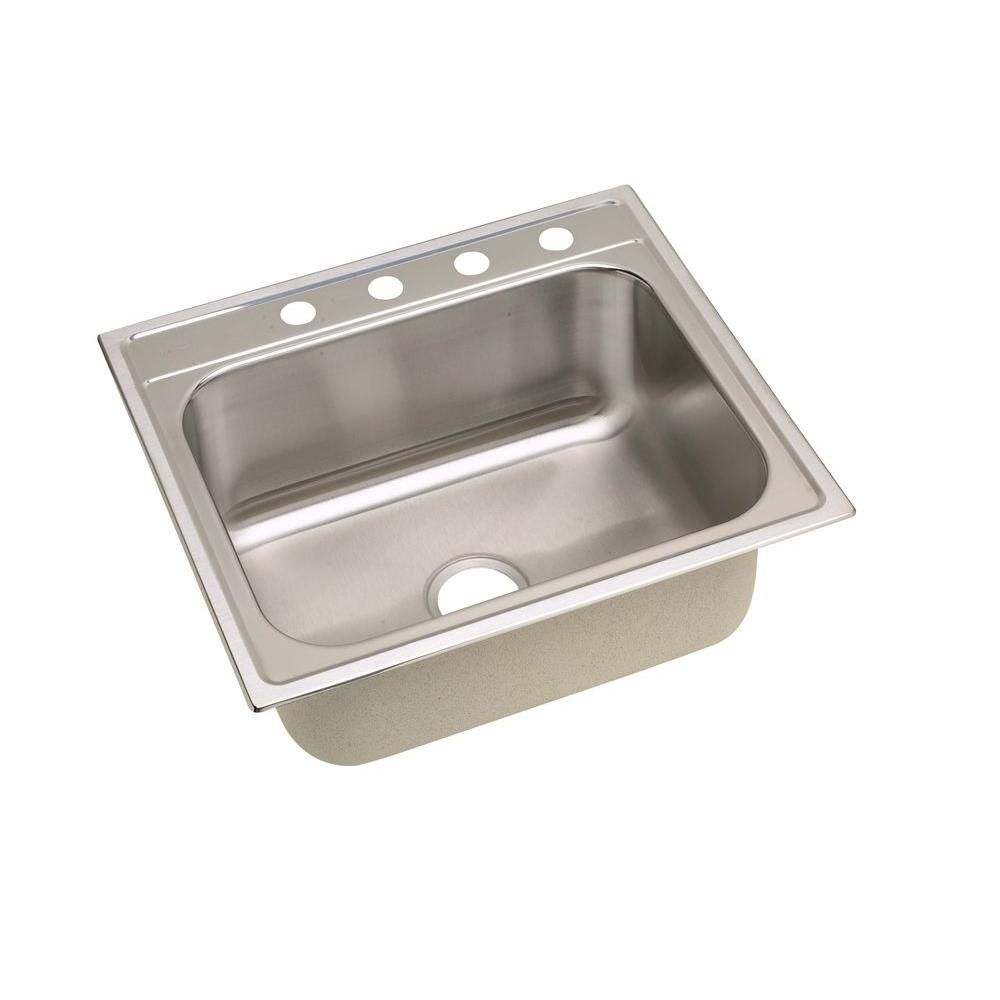 Elkay Signature Top Mount Stainless Steel 25 In 4 Hole Single