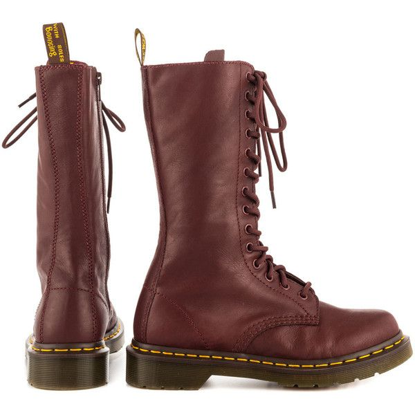 Dr Martens Women's 1B99 - Cherry Red Virginia (436.035 COP) ❤ liked on Polyvore featuring shoes, boots, mid-calf boots, short heel boots, synthetic boots, faux boots, leather mid boots and real leather boots