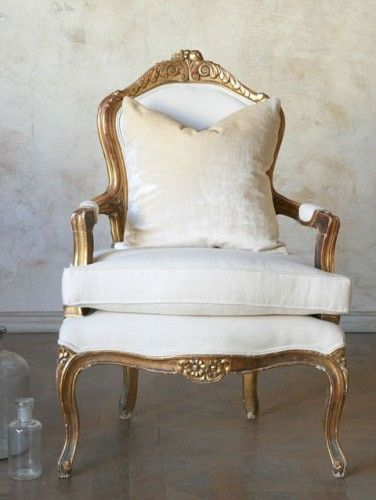 Antique Single Louis Xvi French Style Gold Gilt Armchairs