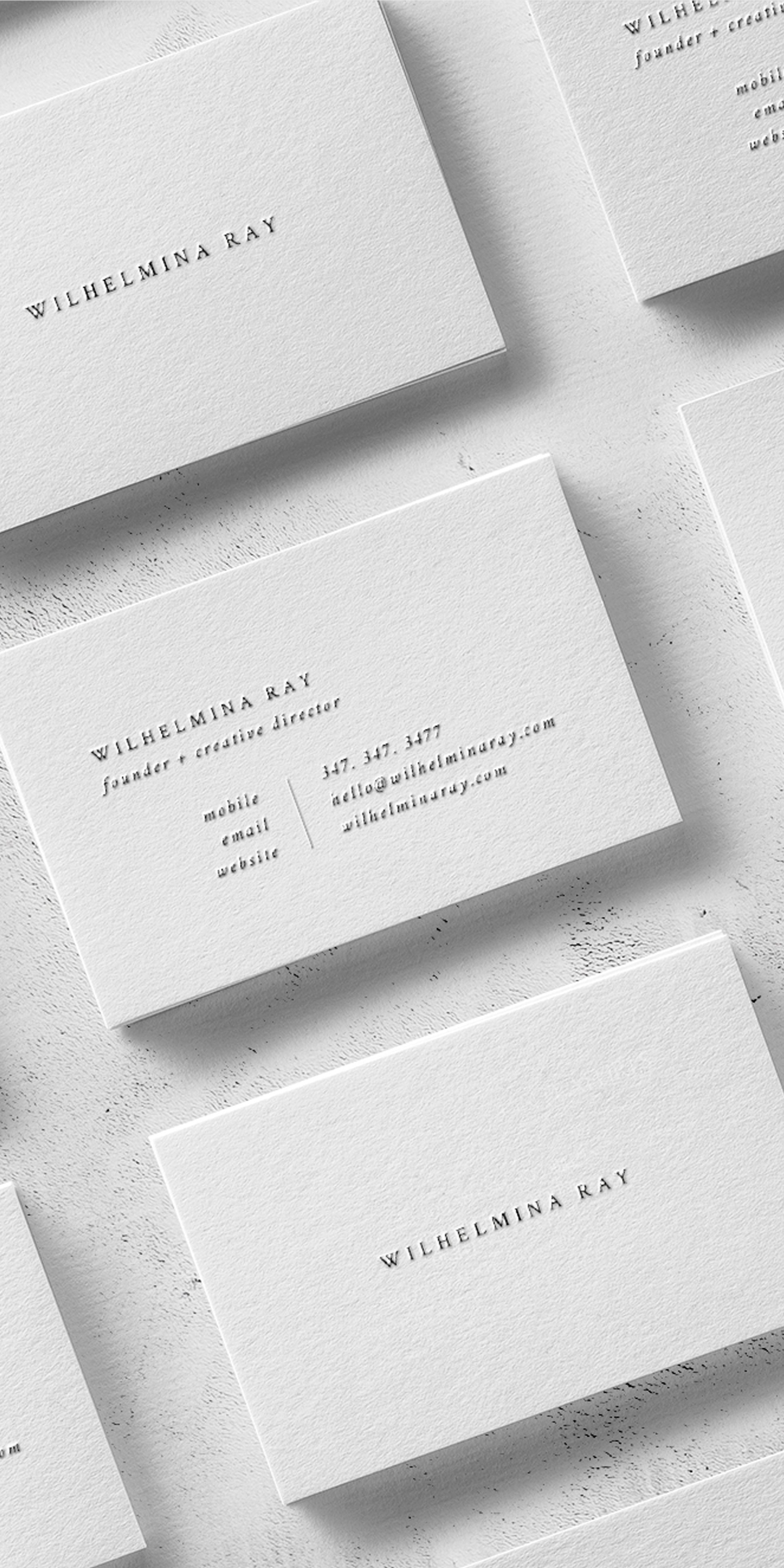 Wilhelmina A Minimal Business Card Design With Classic Serif Font