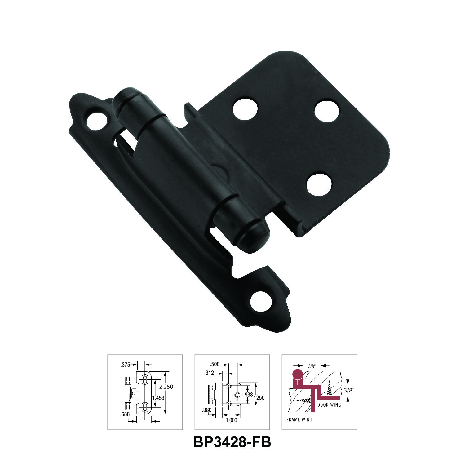 Amerock S Bp3428 Fb 3 8 Inch Inset Face Frame Mount Self Closing Cabinet Hinge In Flat Black Features Traditional Semi Con Amerock Compression Springs Hinges