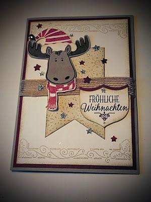 ....Weihnachts-Elch auf Karte....