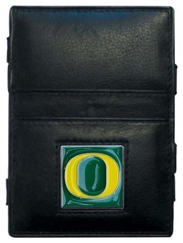 NCAA Oregon Ducks Jacob's Ladder Wallet by Siskiyou. $16.89. This innovative Oregon Ducks jacob's ladder wallet design traps cash with just a simple flip of the wallet! There are also outer pockets to store your ID and credit cards. The wallet is made of fine quality leather with an enameled school emblem.
