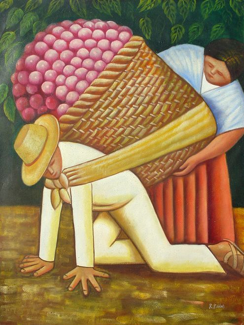 Diego Rivera Reproduction - The Floral Carrier -  Hand made oil on canvas