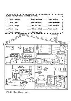 Furniture in the house | learning | Printable worksheets ...