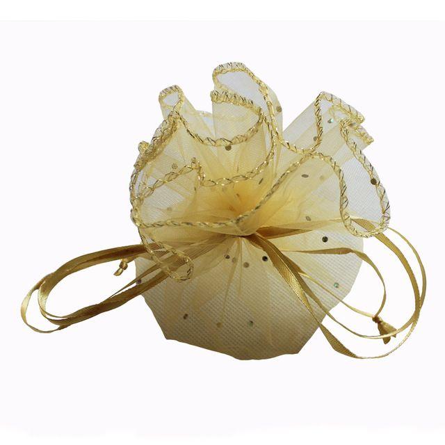 (100 pçs/lote) 33 cm/13 inch diâmetro ouro rodada bolsa casamento saco de organza saco do presente saco de doces para venda