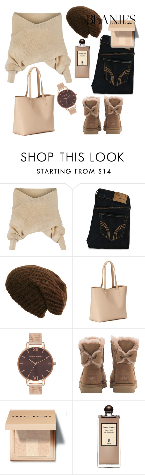 """""""︴beanie  ︴"""" by goodvibesonlycalifornia ❤ liked on Polyvore featuring WithChic, Hollister Co., Old Navy, Olivia Burton, UGG, Bobbi Brown Cosmetics and Serge Lutens"""