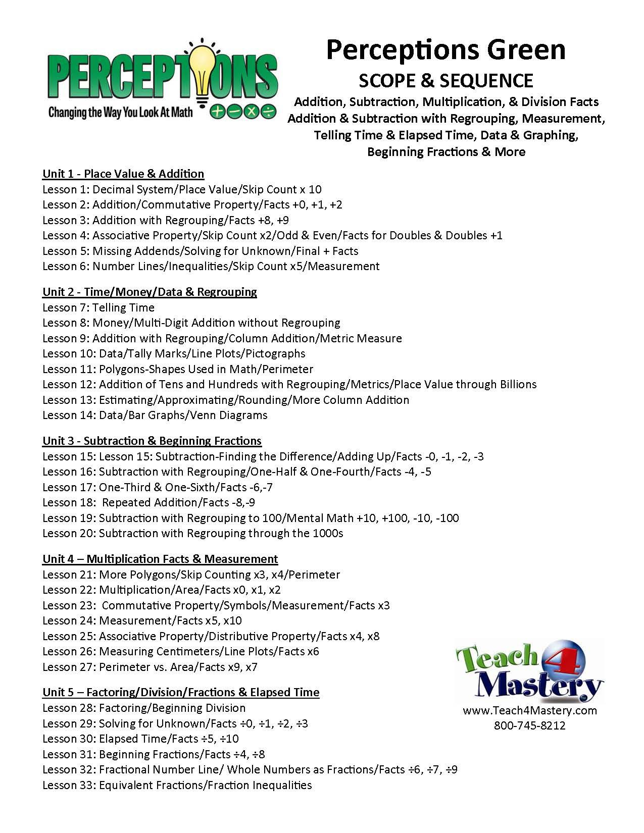 Worksheets Mathematical Story About  Addition,subtraction,multiplication And Division perceptions green scope sequence great for summer school review an intensive math intervention struggling students addition subtraction multiplication division facts addition