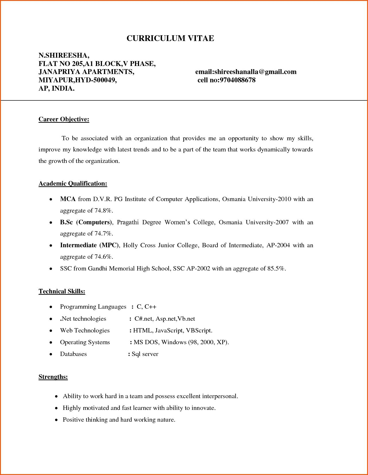 resume for freshers mca