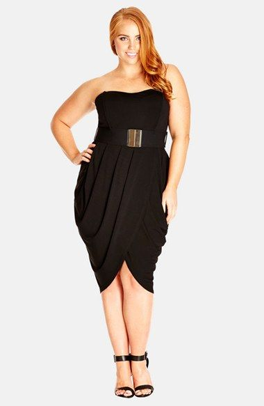 City Chic \'Drape Sweetheart\' Belted Strapless Dress (Plus Size ...