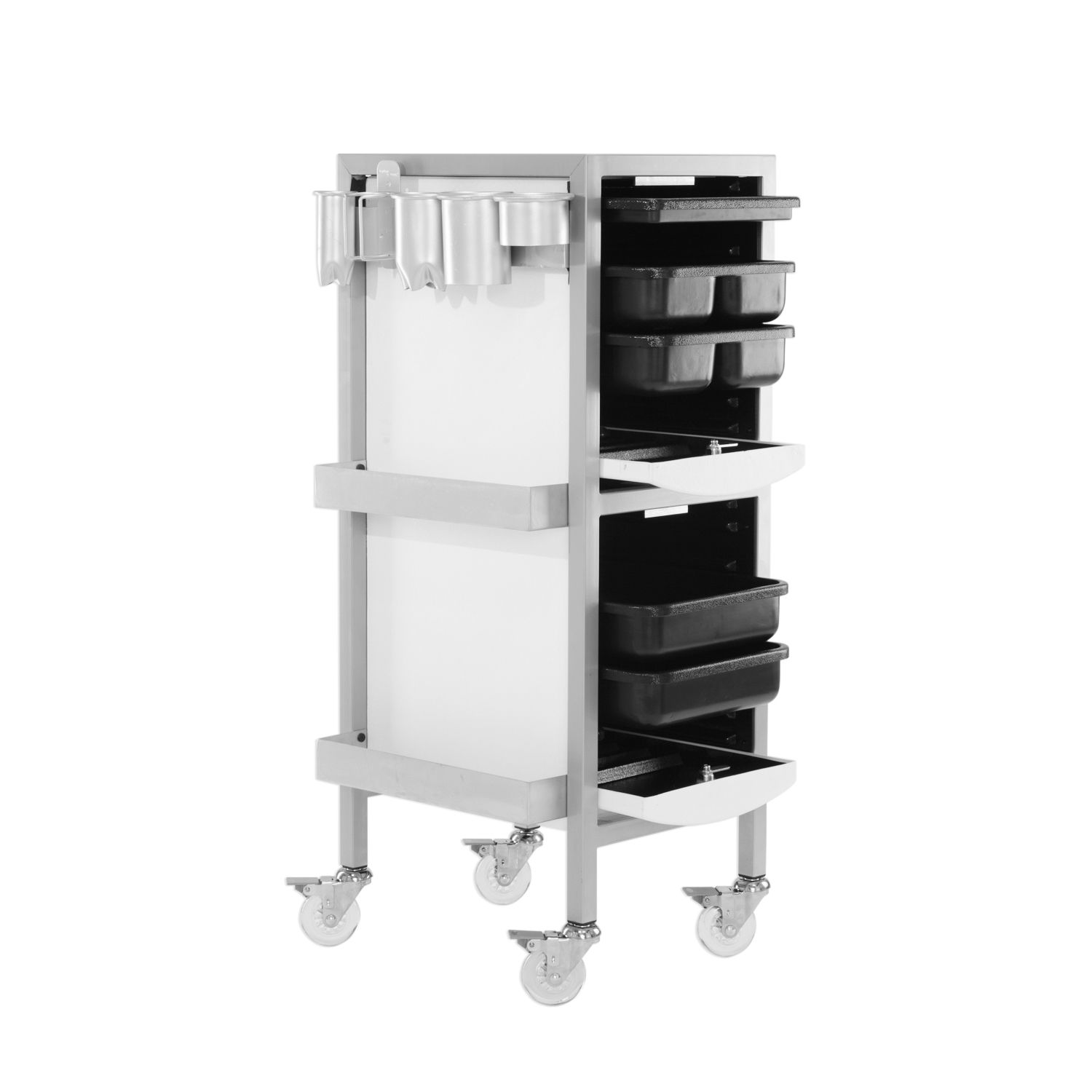 Aaron Salon Cart With Lock Tool Holders And Bottle Well In Black Salon Cart Locker Storage Tool Holder